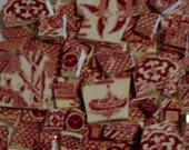 Mosaïque carreaux - carreaux de résille rouge blanc rouge carreaux - w Scenic pièces Focal - les amateurs de w père - sur le pont - Love Birds - pêche-bateau - Tesseraes