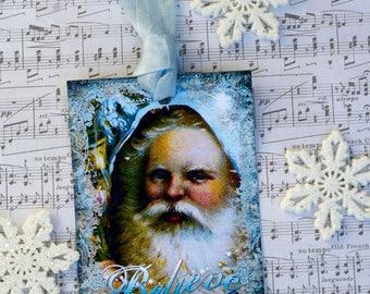Santa Claus Blues Christmas Gift Tags