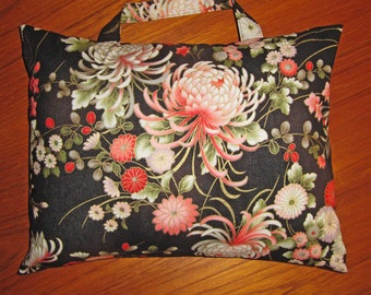 Chrysanthemums Travel Pillow with Handle Japanese Asian Design Black