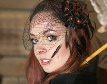 Beautiful Steampunk / Gothic Mourning black and brown birdcage veil with elegant feathering and handmade flower