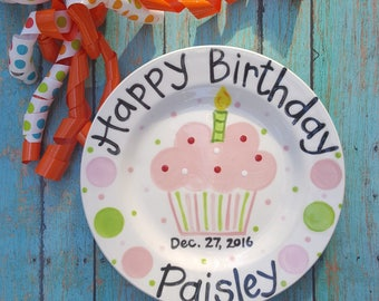 10.5 inch Personalized Ceramic Birthday Plate, Custom Painted Cupcake Plate, Birthday Plates, Celebration Plate