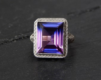 Art Deco Ring: pink and purple dual color sapphire, 14k white gold openwork filigree,11x9mm rectangle, 1920s jewelry, pinky ring, size 3.5