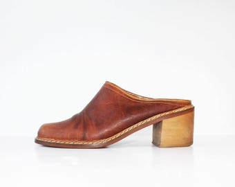 1970s Tan Mules Platforms