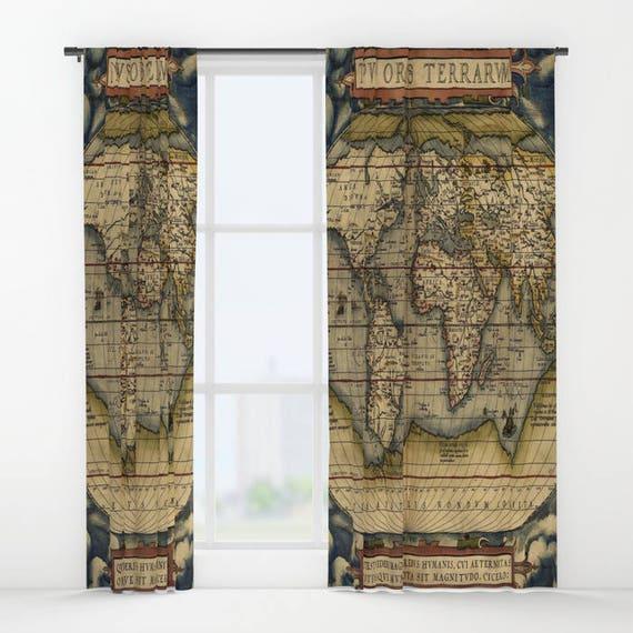 Antique World Map Window Curtain, Vintage World Map Curtain, Old Map Curtain,Decorative,Unique Design,World Map Decor, Office Window Curtain