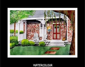 Note Card Set-Red Brick House w Porch