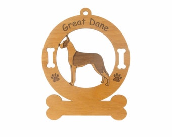 3294 Great Dane - Mantle Dog Standing Personalized Wood Ornament