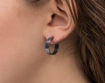 18mm Sterling Silver Earrings, Wide, Oxidized Black