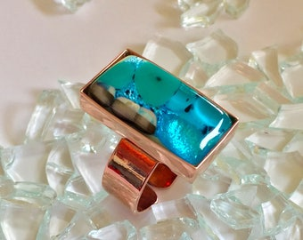 fused glass adjustable copper ring in aqua, teal, blue, and cream