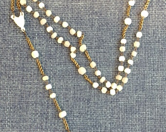 1800's Small Antique French Mother of Pearl Rosary 14 inch small mother of pearl rosary prayer bead