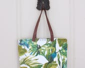 Tropical Leaf Tote with Optional Monogram and Faux Leather Handles - Lined Tote Bag with Pocket - Beach Bag - Handbag