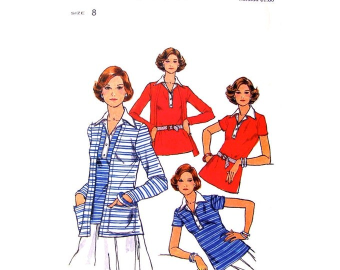 70s Cardigan & T-Shirt Sewing Pattern Butterick 4665 Stretch Knits Top Collar Women Size 8