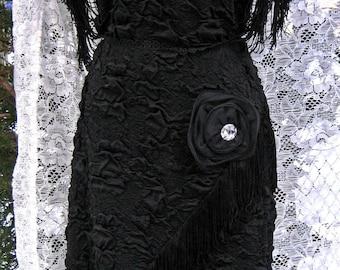 LARGE Flapper dress, Great Gatsby dress Vintage 1980s 80 dress in 1920s 20s style Black flapper dress RHINESTONES FRINGE dress Jazz dress