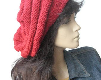 Red Hand Knit Hat, Beehive Knit Beret, Vegan Hat, Red Hat, Womens Accessories, Red Slouchy Beanie Hat