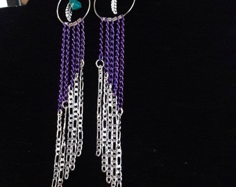 Long Sterling Silver and Purple Chains- Dangle Earrings with a Silver plated Feather and a Turquoise stone