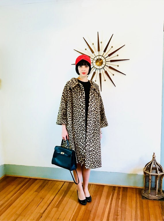 60s Leopard Coat, KILIMANJARO coat, Leopard print coat, Vintage leopard coat, Long leopard coat, Rockabilly Coat, leopard swing coat