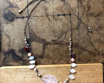 Handwoven Necklace With Rose Quartz Love Stone Pendant