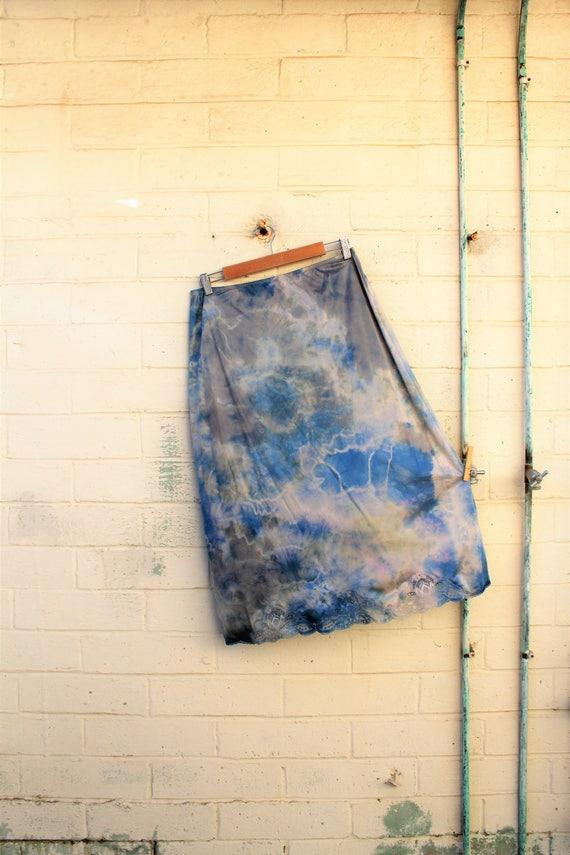 Large Plus Tie Dye Skirt/Stormy Sky Vintage Skirt/Upcycled Clothing/Hippie Tie Dye Skirt/Tie Dye Lace Skirt/Upcycled Skirt/French Fairy