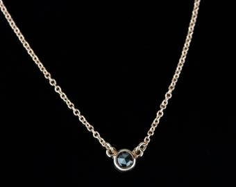 """Petite Rose Cut Black Diamond Solitaire Necklace - Solid 14k Gold - Rose or White or Yellow Gold - 18"""" Chain"""