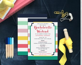 Bachelorette Party Weekend Invitations, Colorful Printed Bridal Shower Invite, Printable Modern Striped Hen Party Invites - Catherine