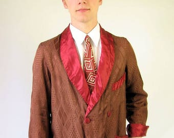 50s Vintage Jacquard Men's Robe Double Breasted Brown and Red