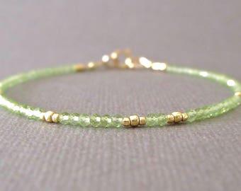 Peridot Bracelet/ Delicate Peridot Bracelet/ Peridot Layering Bracelet/ Peridot Friendship Bracelet/ Peridot Bead Bracelet/ Peridot Beads