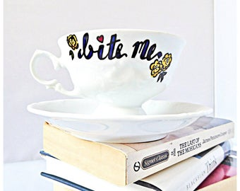 Bite Me, Statement Mug, Unique Best Friend Gift, Snarky, Naughty Tea Cup, Unique Coworker Gift, Bridesmaid, funny wife mug, cup and saucer