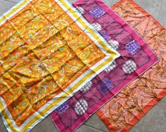 Lot of 3 Vintage Vera Neumann Silk Scarves