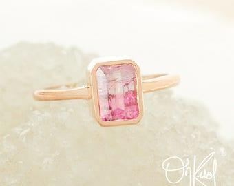 Rose Gold Ombre Pink Tourmaline Ring - Bezel Setting - Emerald Cut Tourmaline