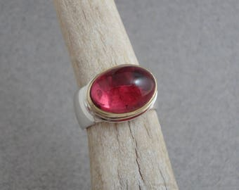 Rubellite Tourmaline Ring in 18k Gold and Sterling, Bright Pink Tourmaline Cabochon Ring