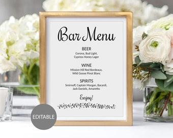 Printable Wedding Bar Menu, Wedding Bar Sign, List of Bar Drinks, Custom Drink Menu, Wedding Drink Sign, Editable drink list, Template