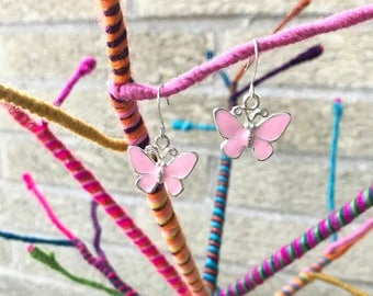 Pink Butterfly Earrings - Butterfly Jewelry - Pink Earrings - Little Girl Earrings - Girls Earrings - Stocking Stuffer