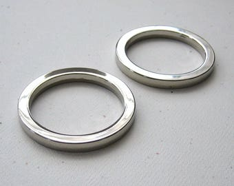 "1 1/2"" Round D Rings Nickel Plated 1.5"" Flat Circle Rings for 1"" Straps - set of 2"
