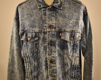 Vintage LEVI'S 1980's Denim Trucker Jean Jacket Stonewash Type III 4 pocket XL