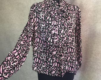 Vintage Tie Neck Shirt, Pussy Bow Shirt, 80's Leopard Print Blouse, Pink and Black, Women's Size Small to Medium, Sheer, Long Sleeve, Silk