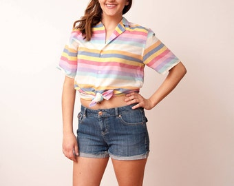 Vintage Striped Shirt - Vtg Striped Button Down - Vtg Horizontal Striped Rainbow Shirt - Pride Fashion - 80s Shirt - Size Medium