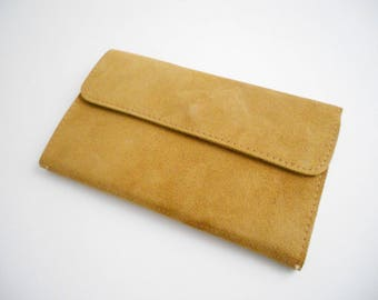 Vintage Light Brown Suede Leather Wallet
