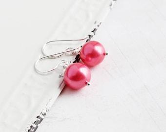 Strawberry Pink Earrings, Genuine Freshwater Pearl Earrings with Sterling Silver Hooks, Real Pearl Jewelry