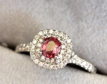 Sapphire engagement ring, RASPBERRY PADPARADSCHA Pink Sapphire ring,  double halo diamond ring, pink sapphire