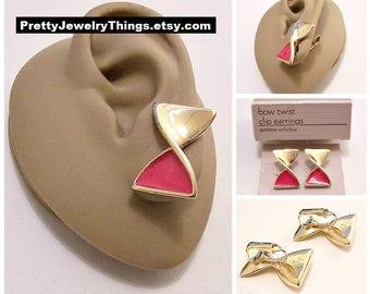 Avon Pink Fuchsia Bow Twist Clip On Earrings Gold Tone Vintage 1988 Swirl Double Triangles