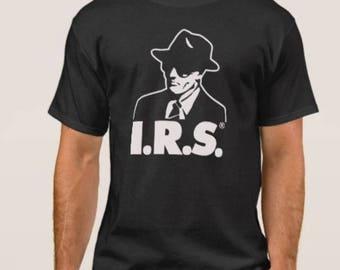 IRS    Records     T shirt screen print short sleeve     shirt cotton