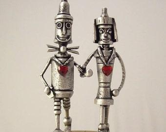 Tin Man Wedding Cake Topper Tin Woodsman Bride Groom Topper Wizard of Oz Mechanical Man Robot Wood Sculpture Yellow Brick Road Cake Top