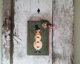 Snowman Wall Dcor, Primitive Christmas, Painted Snowman, Rustic Snowman, Country Snowman, Snowman Welcome,  COuntry Primitive Decor