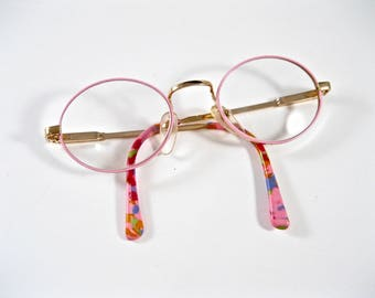 Cute pink eyeglass frames. 80s 90s circular oval glasses. 46-19
