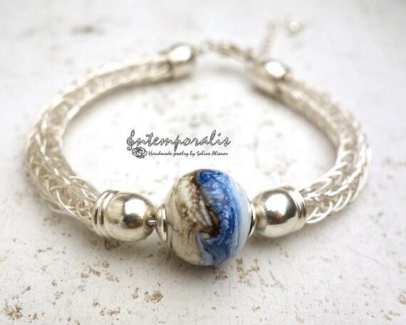 Lampwork and viking knit bracelet, blue and ivory , OOAK, SABRLW01