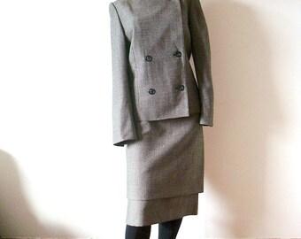 Vintage Akris Suit, designer vintage wool tweed straight skirt and jacket