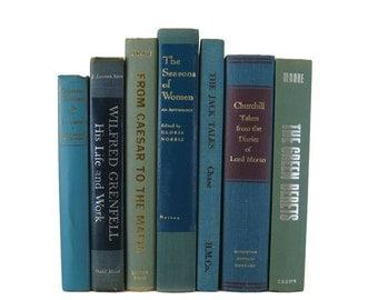Blue Green Books, Decorative Books,  Farmhouse Decor, Blue Vintage Books,  Photo Props,  Centerpieces, Wedding Decor , Hostess Gifts