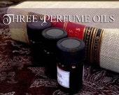 THREE vegan Perfume Oils / 2ml Perfumes / Choose Your Scents / Vegan perfume oil / Handcrafted Perfume