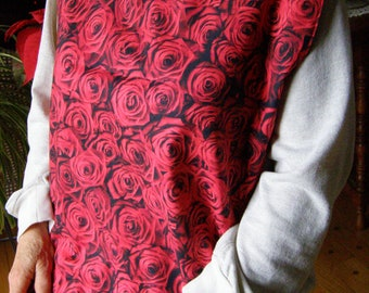 Adult Shirt Protector Bib reversible Red Roses extra long