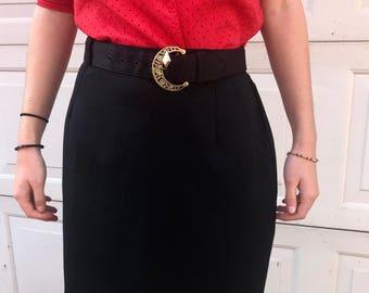 Vintage 1950's Black Belted Skirt