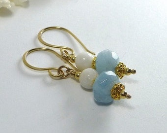 Aquamarine Earrings, Gold Filled, Blue GemStone Dangle Earrings, March Birthstone, Beach Jewelry